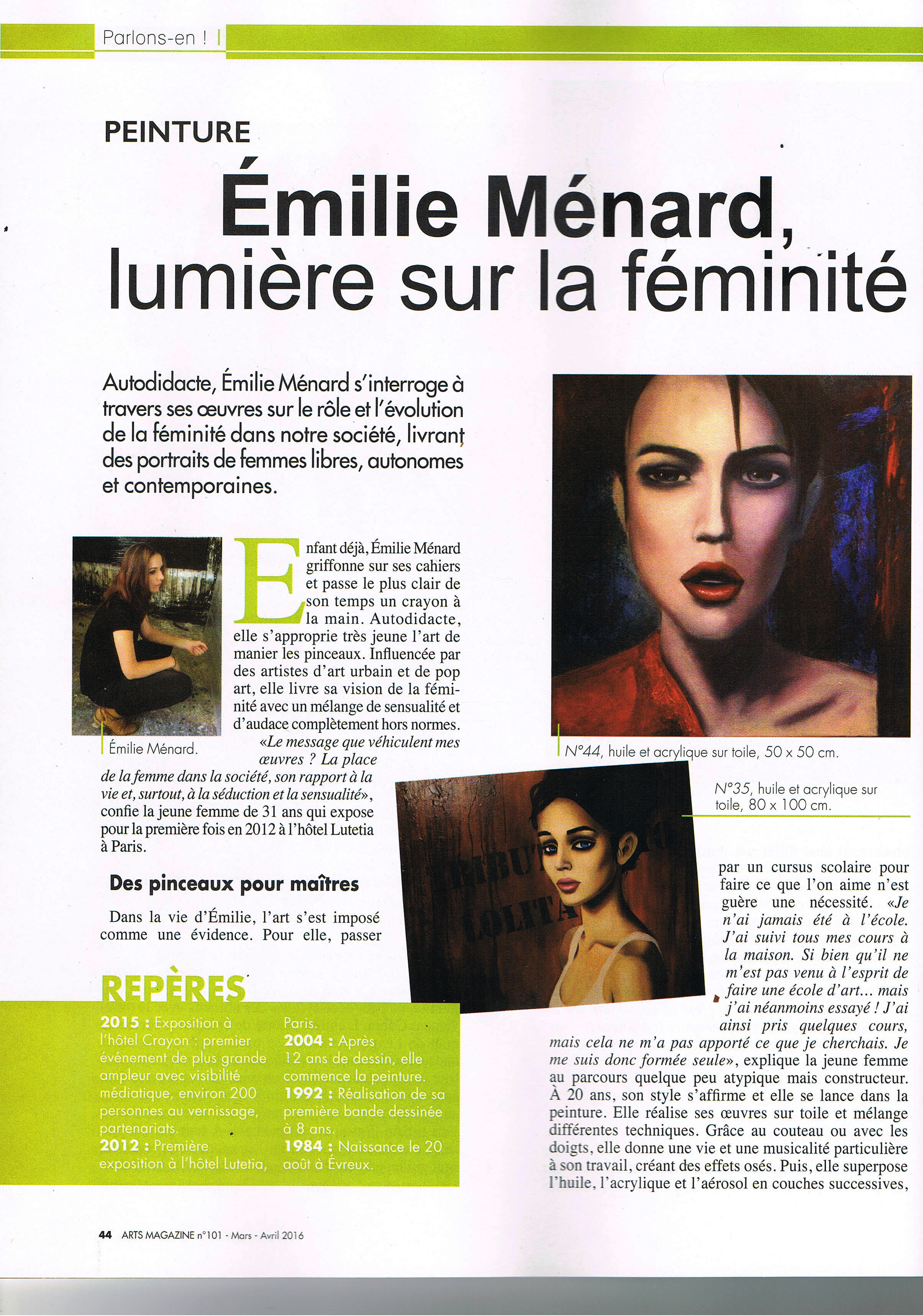 article Emilie Menard - Art Mag - 03.16 - P1